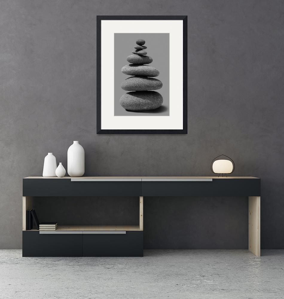 """""""Stacked river rocks on grey background""""  by Morganhowarth"""