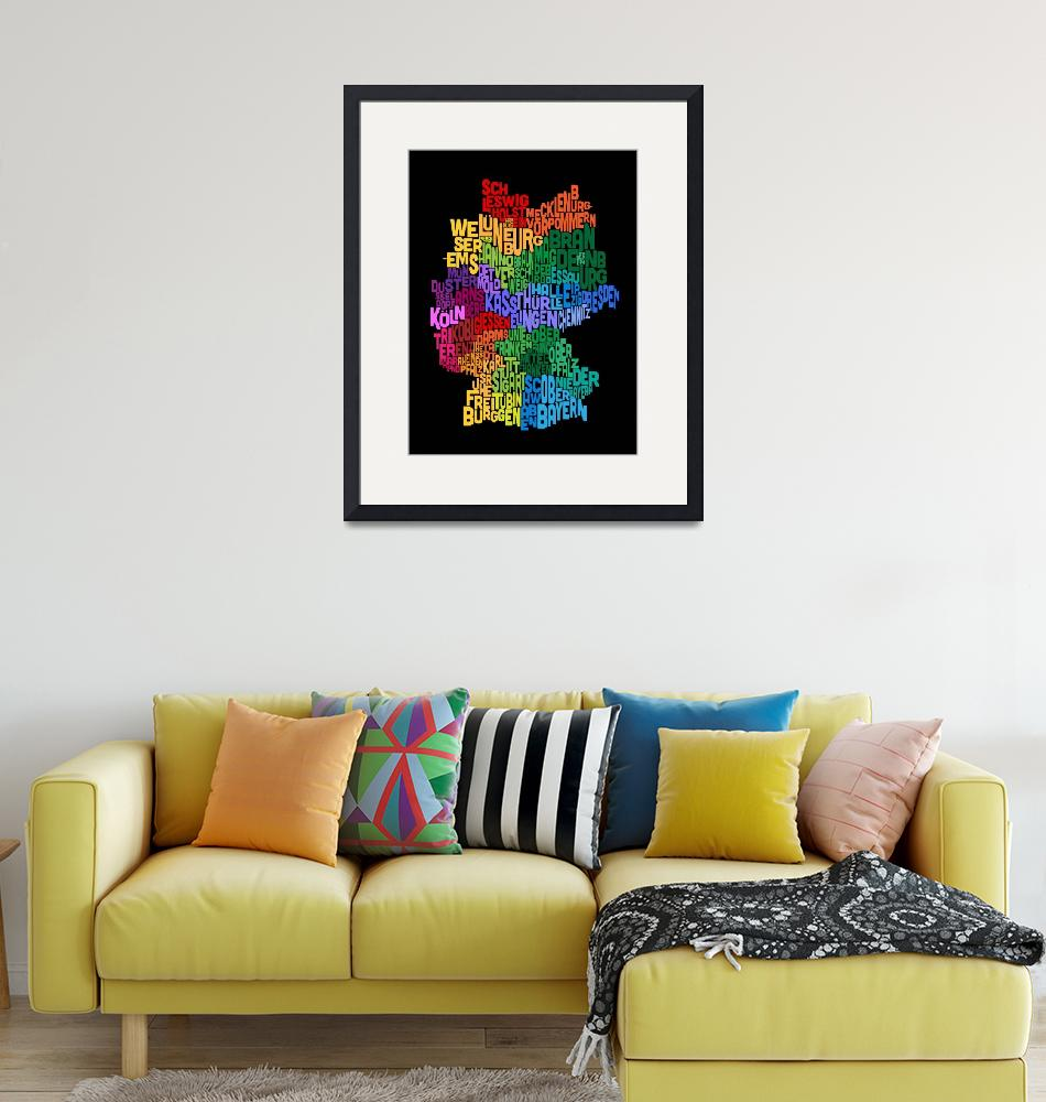 """""""Text Map of Germany Map""""  (2013) by ModernArtPrints"""