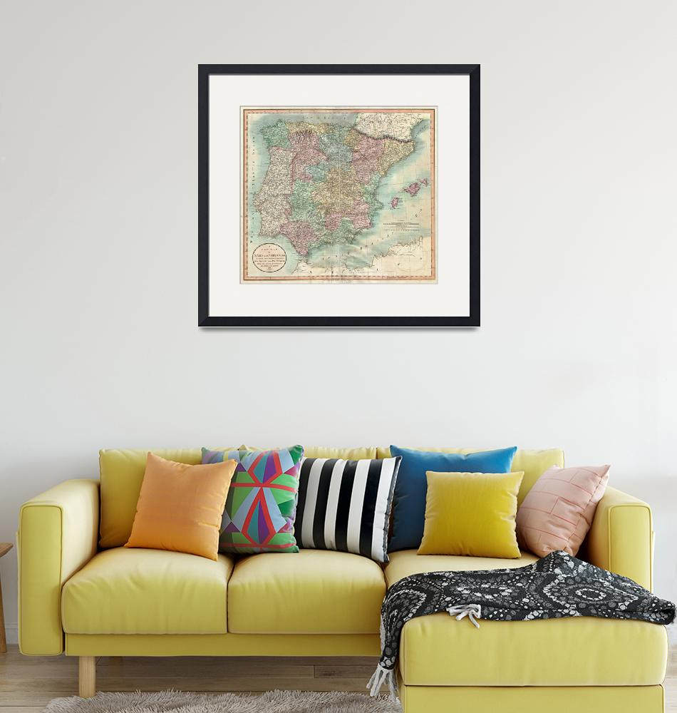 """Vintage Map of Spain and Portugal (1801)""  by Alleycatshirts"