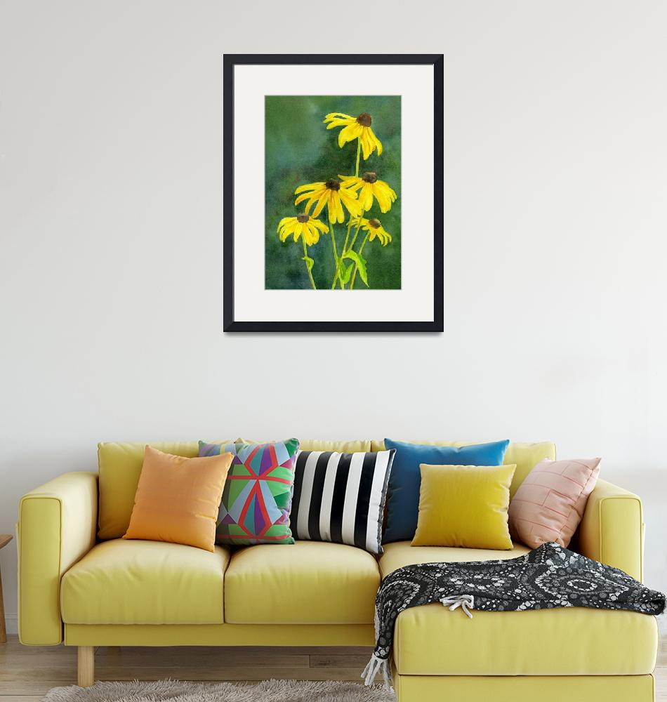 """Black Eyed Susans with Dark Background""  (2013) by Pacific-NW-Watercolors"