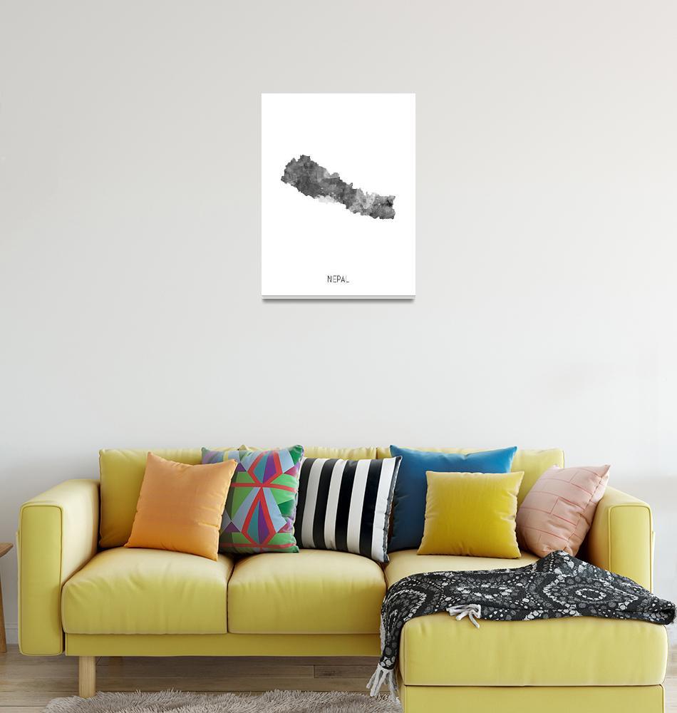 """Nepal Watercolor Map""  (2019) by ModernArtPrints"
