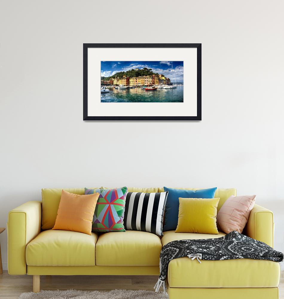 """""""Low Angle Panoramic View of Portofino Harbor""""  (2013) by George_Oze"""