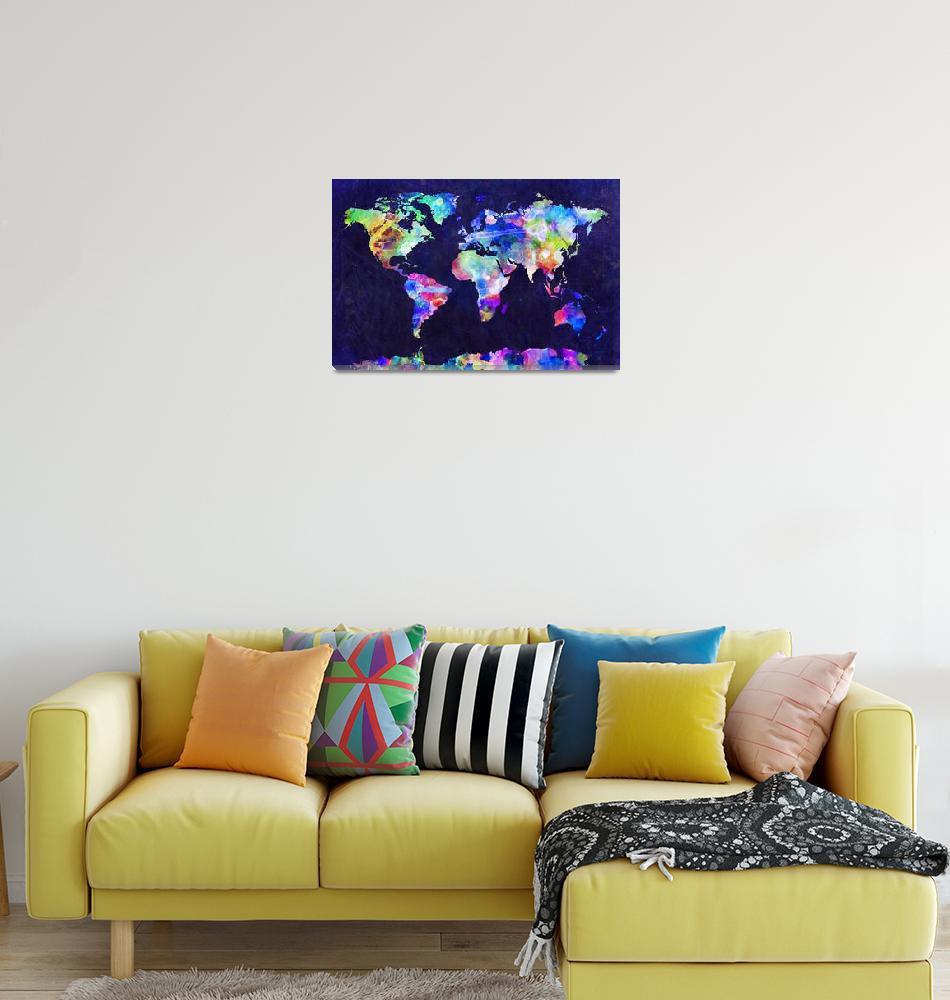 """""""World Map Urban Watercolor""""  (2011) by ModernArtPrints"""