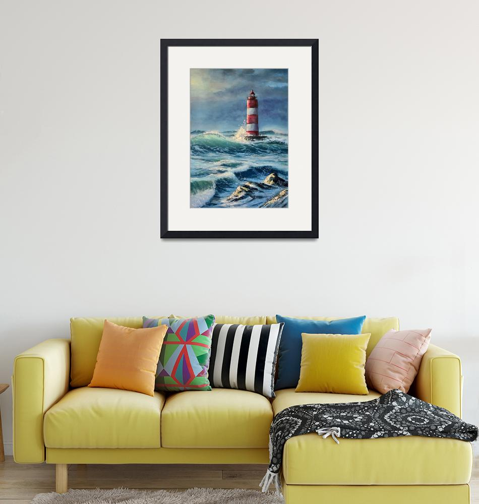 """Lighthouse in the stormy sea""  by Maxon"