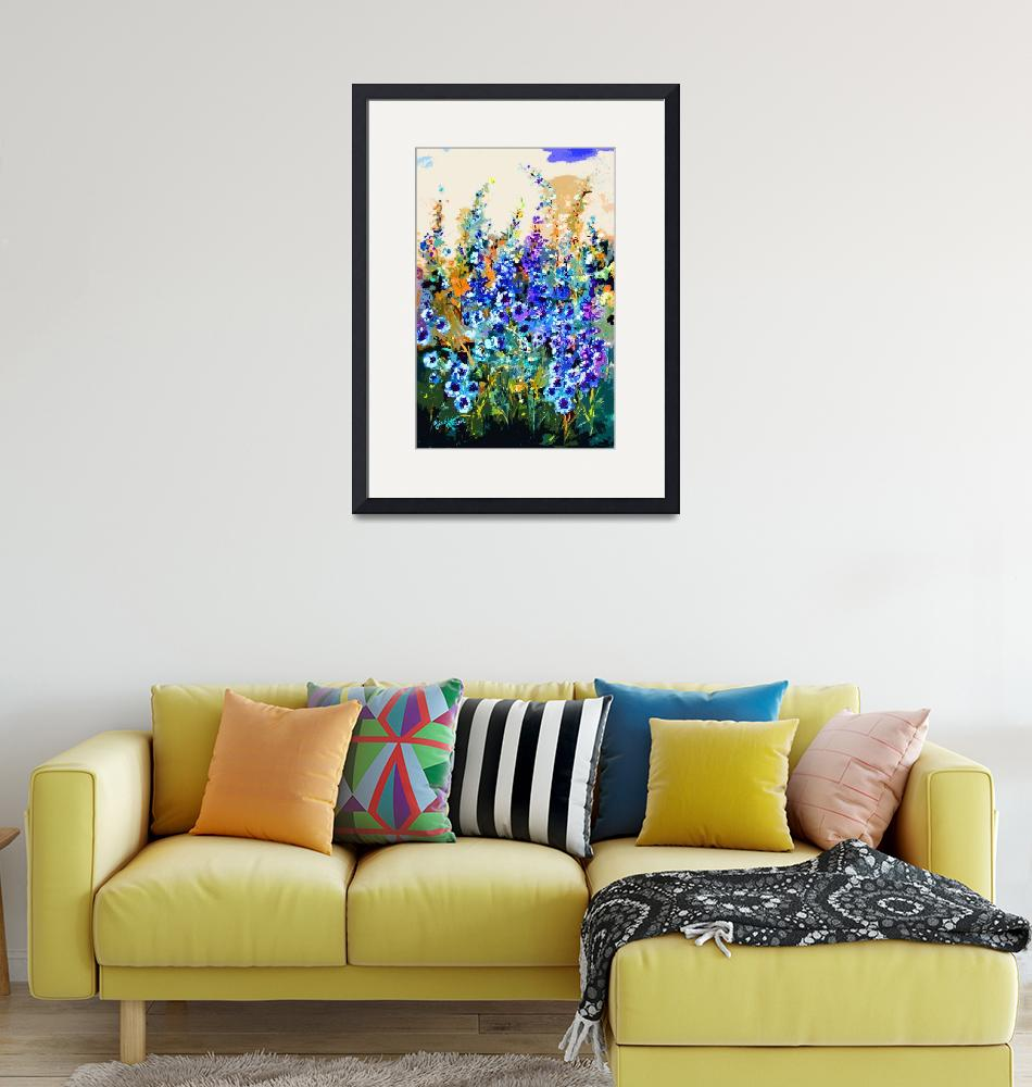 """""""Delphiniums Modern Floral Art""""  (2014) by GinetteCallaway"""