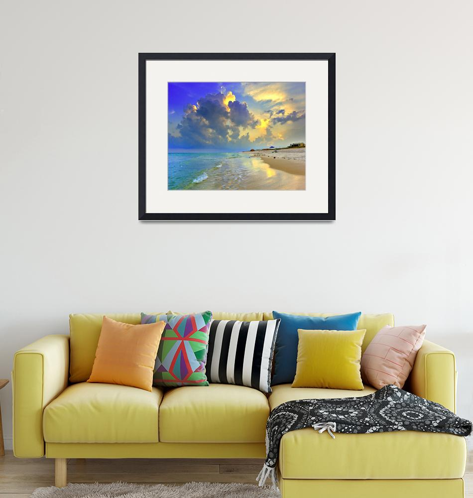 """Yellow Blue Seascape Sunset Florida Beach Fine Art""  (2008) by eszra"