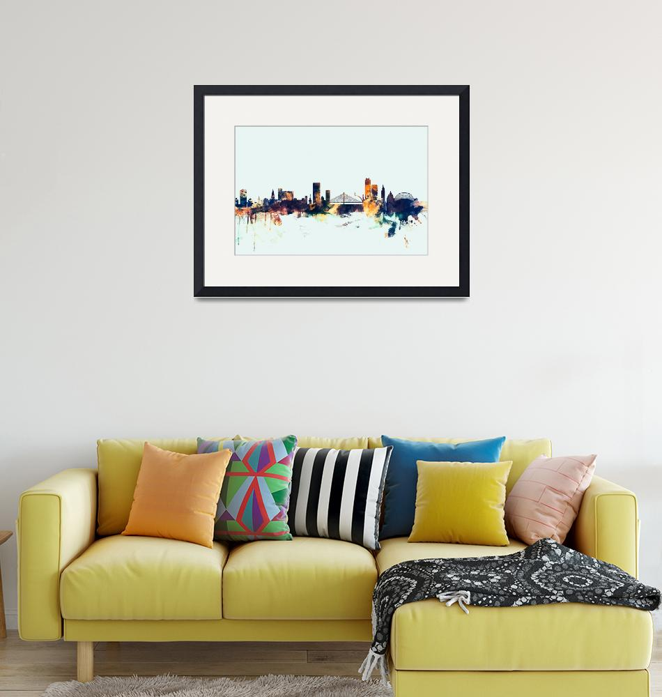 """Liege Belgium Skyline""  (2015) by ModernArtPrints"