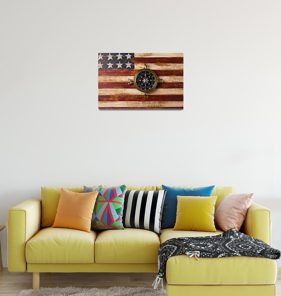 """Compass on wooden folk art flag""  (2013) by photogarry"