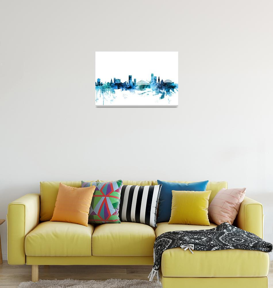"""Liege Belgium Skyline""  (2018) by ModernArtPrints"