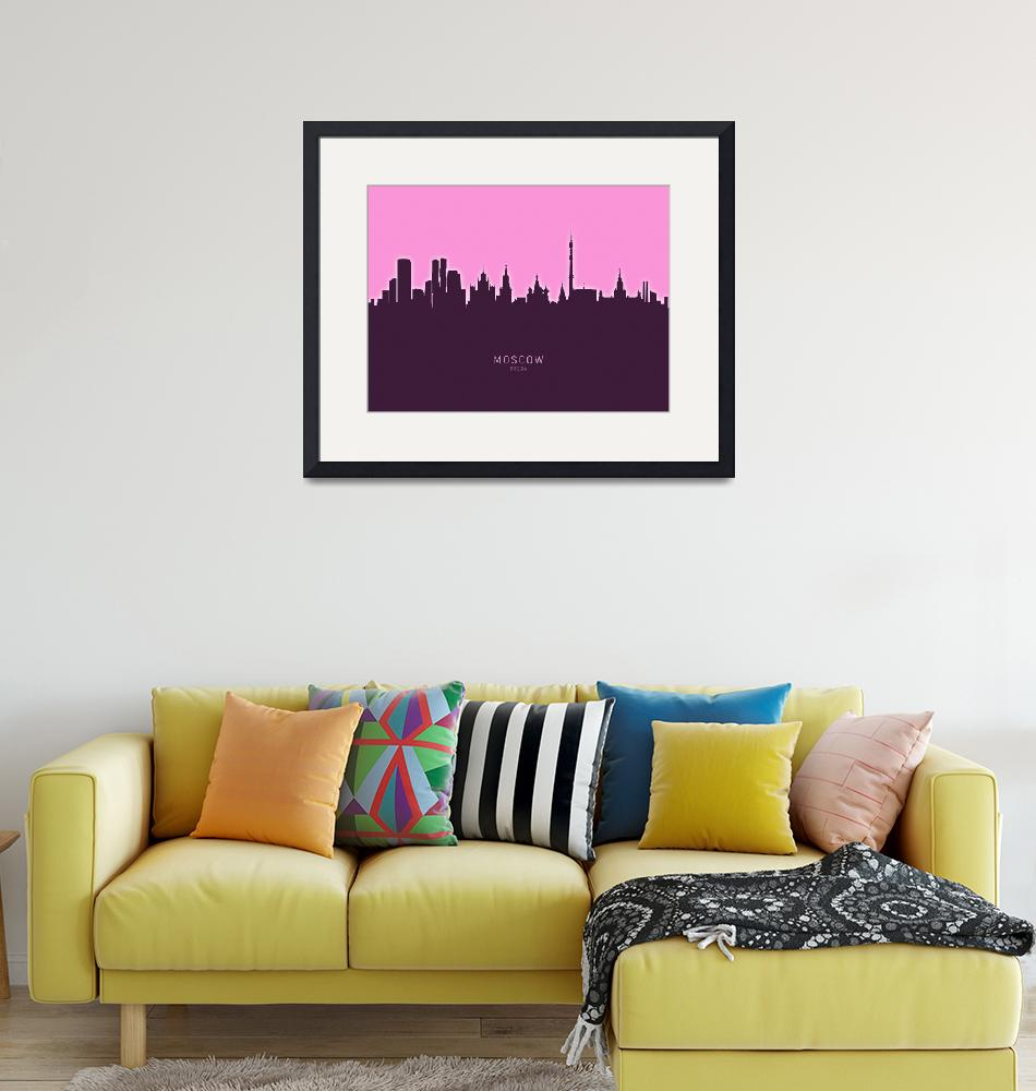 """Moscow Russia Skyline""  (2020) by ModernArtPrints"