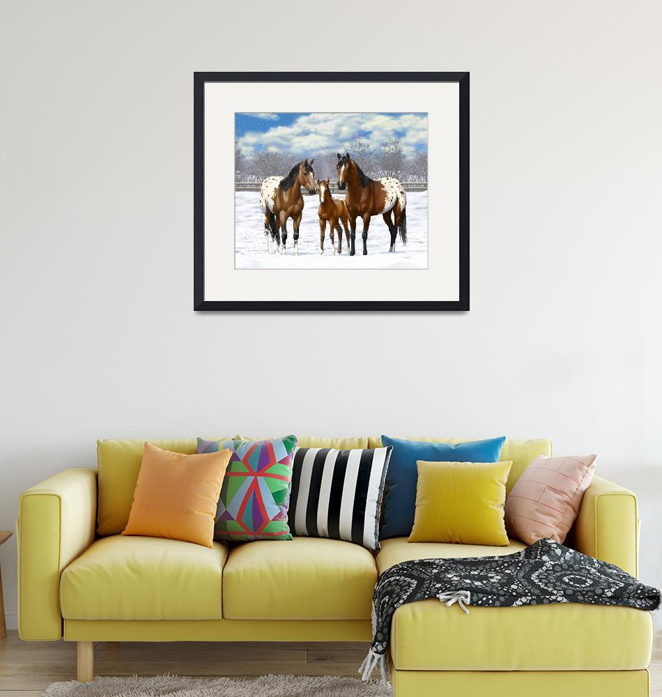 """""""Bay Appaloosa Horses In Snow""""  (2017) by csforest"""