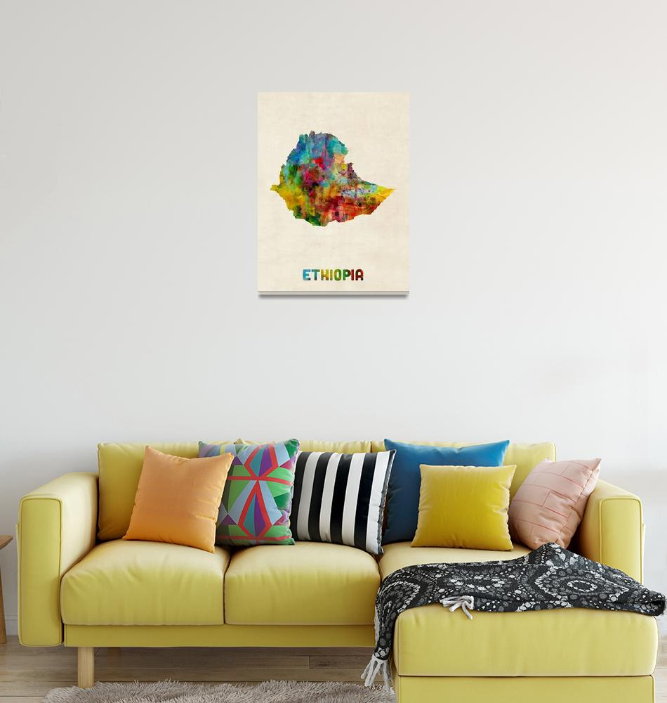 """Ethiopia Watercolor Map""  (2017) by ModernArtPrints"