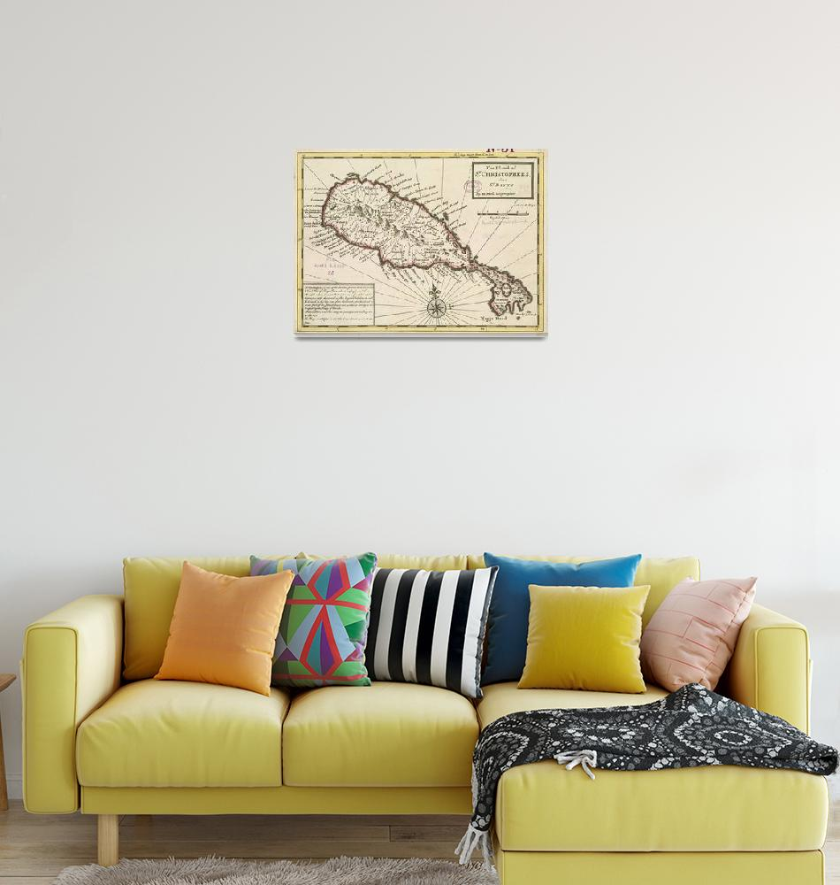 """Vintage Map of Saint Kitts (1732)""  by Alleycatshirts"