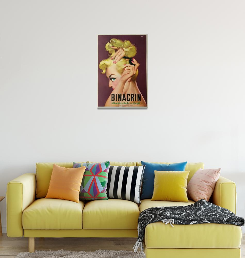 """Binacrin Shampoo by Mosca Vintage Poster""  by FineArtClassics"
