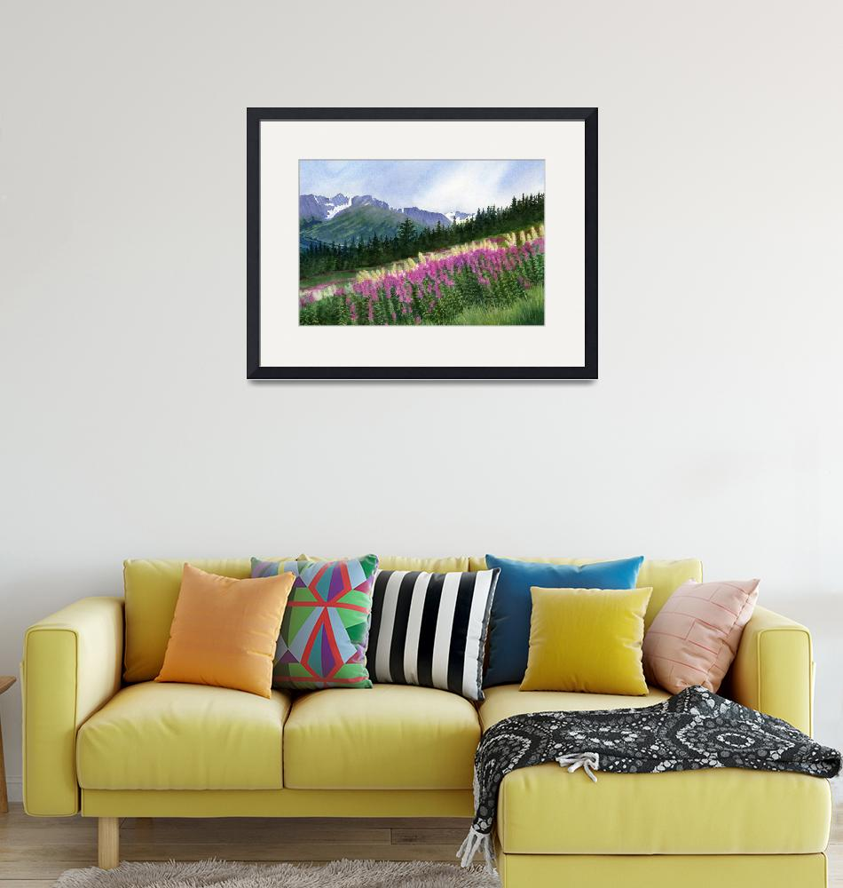 """""""Glacier Valley Fireweed""""  (2011) by Pacific-NW-Watercolors"""