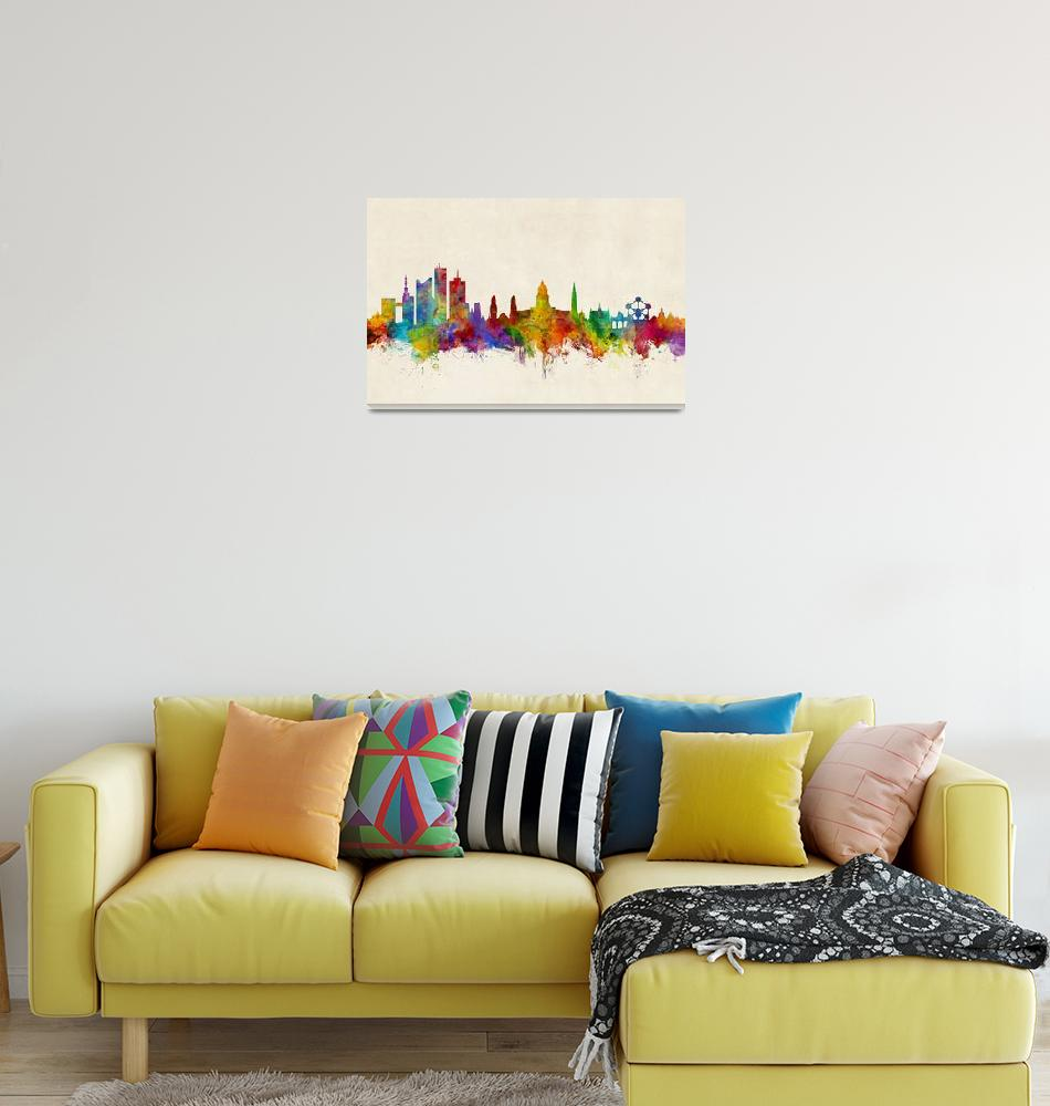 """""""Brussels Belgium Skyline""""  (2017) by ModernArtPrints"""