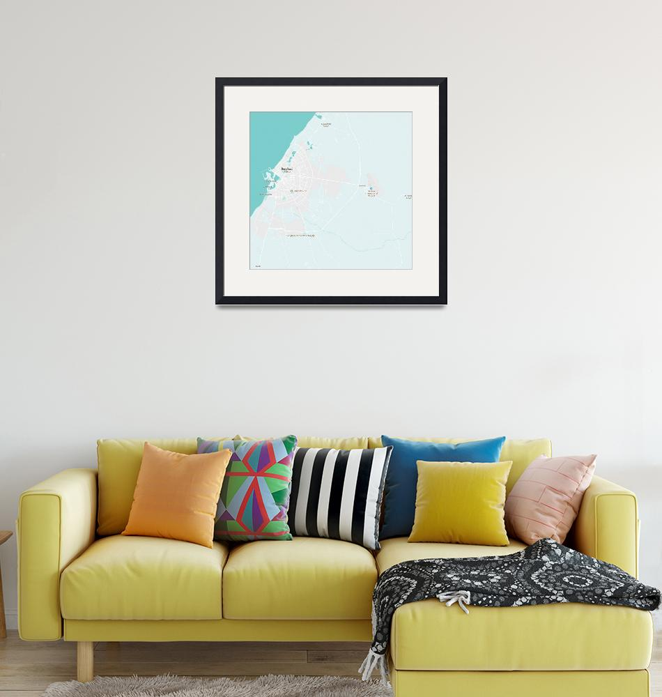 """Minimalist Modern Map of Benghazi, Libya 1""  by motionage"