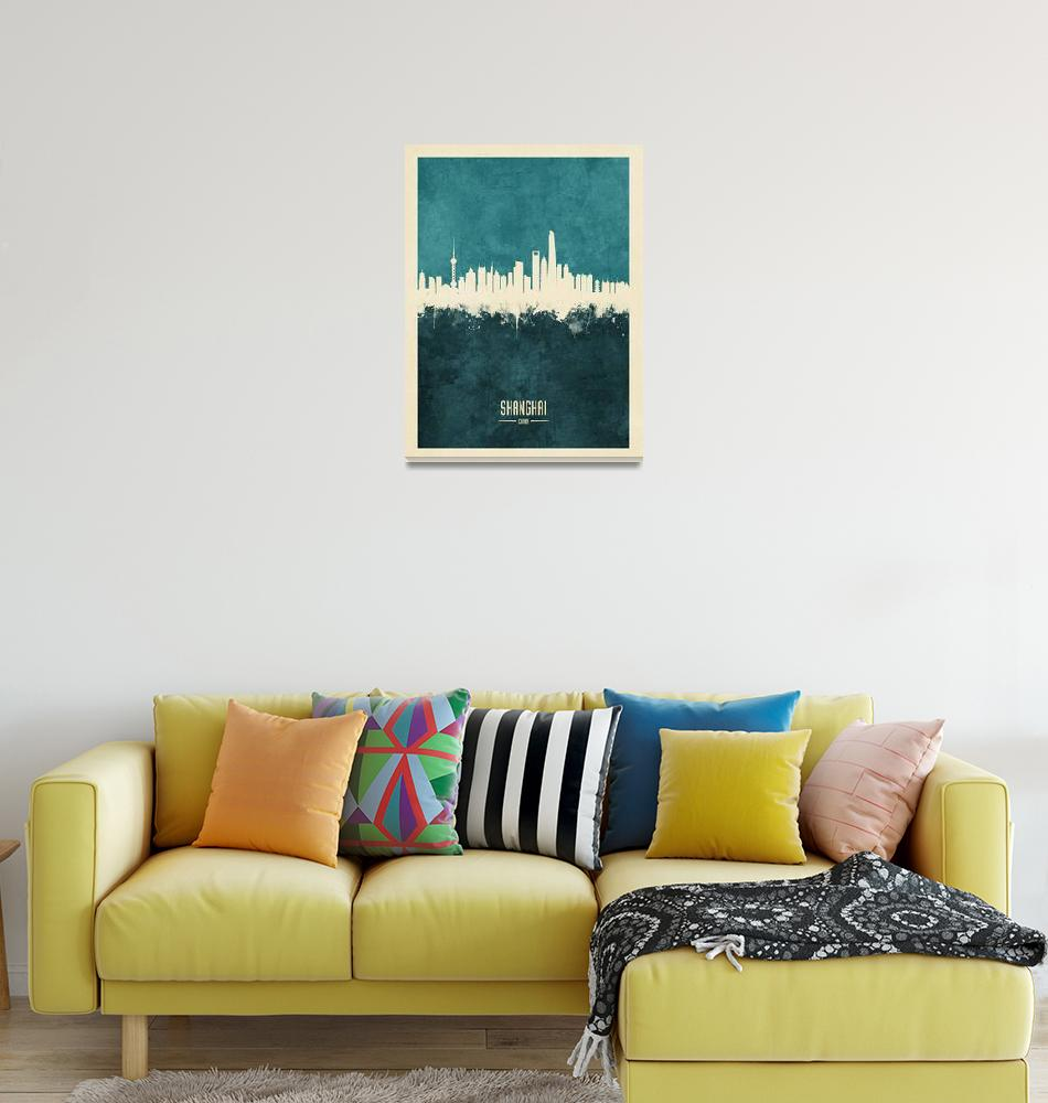 """Shanghai China Skyline""  (2018) by ModernArtPrints"