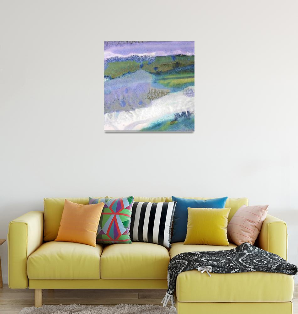 """""""30. v1 Square Purple Blue Landscape 1 Abstract""""  (2016) by maggieminordesigns"""