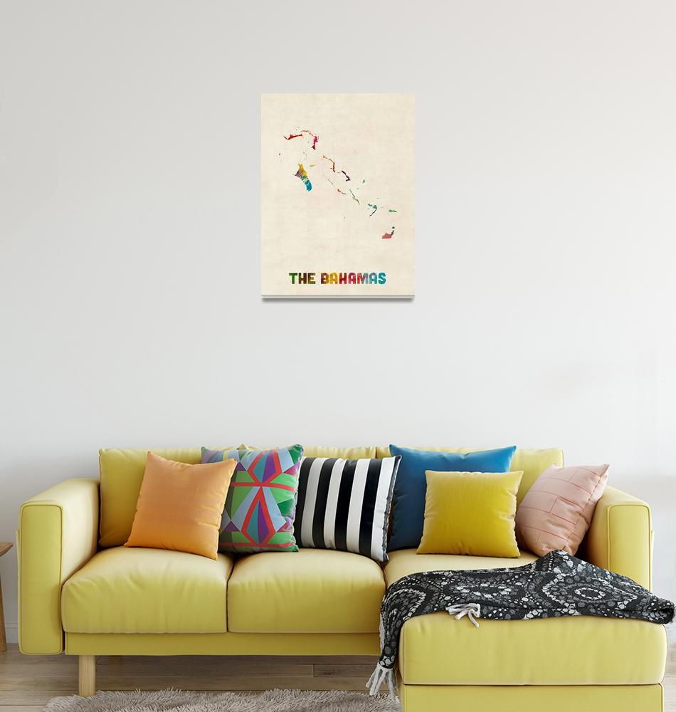 """The Bahamas Watercolor Map""  (2015) by ModernArtPrints"
