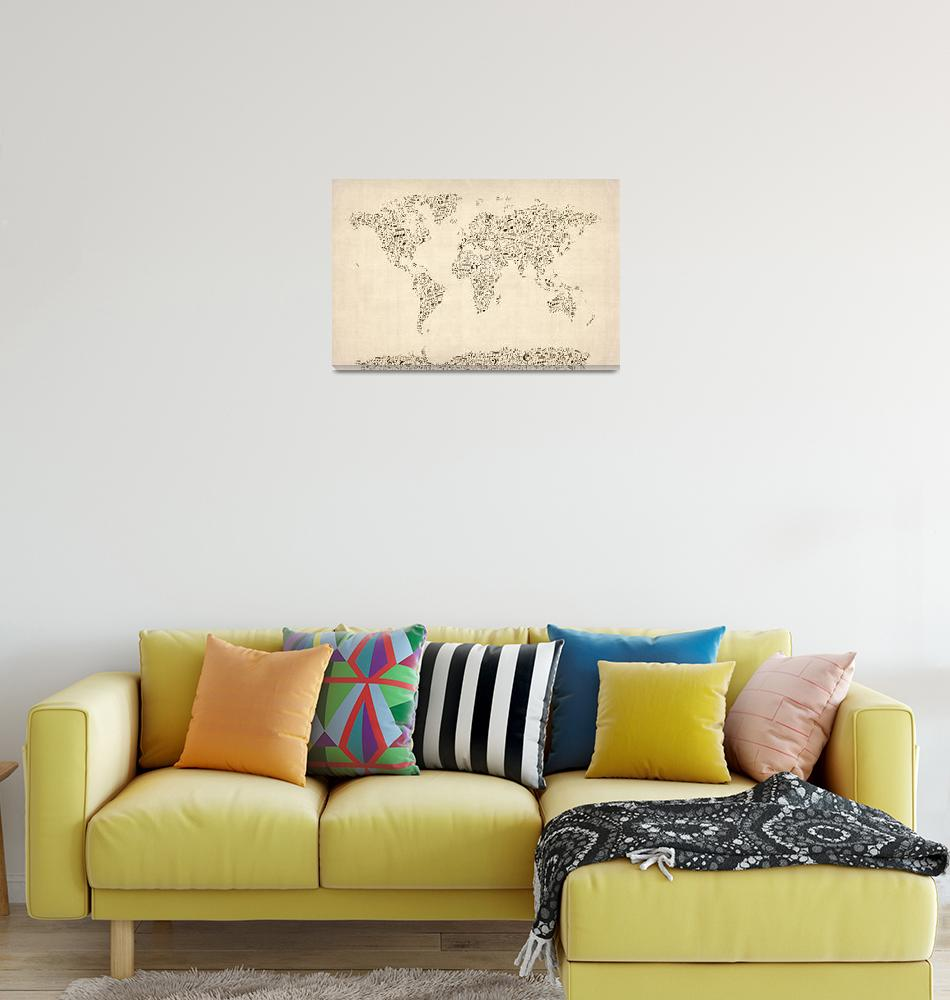 """""""Music Notes Map of the World Map""""  (2012) by ModernArtPrints"""