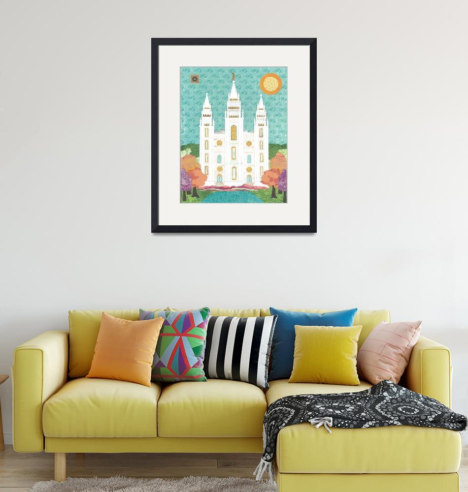 """Salt Lake LDS Temple Bright""  (2012) by AZeleskiCollages"