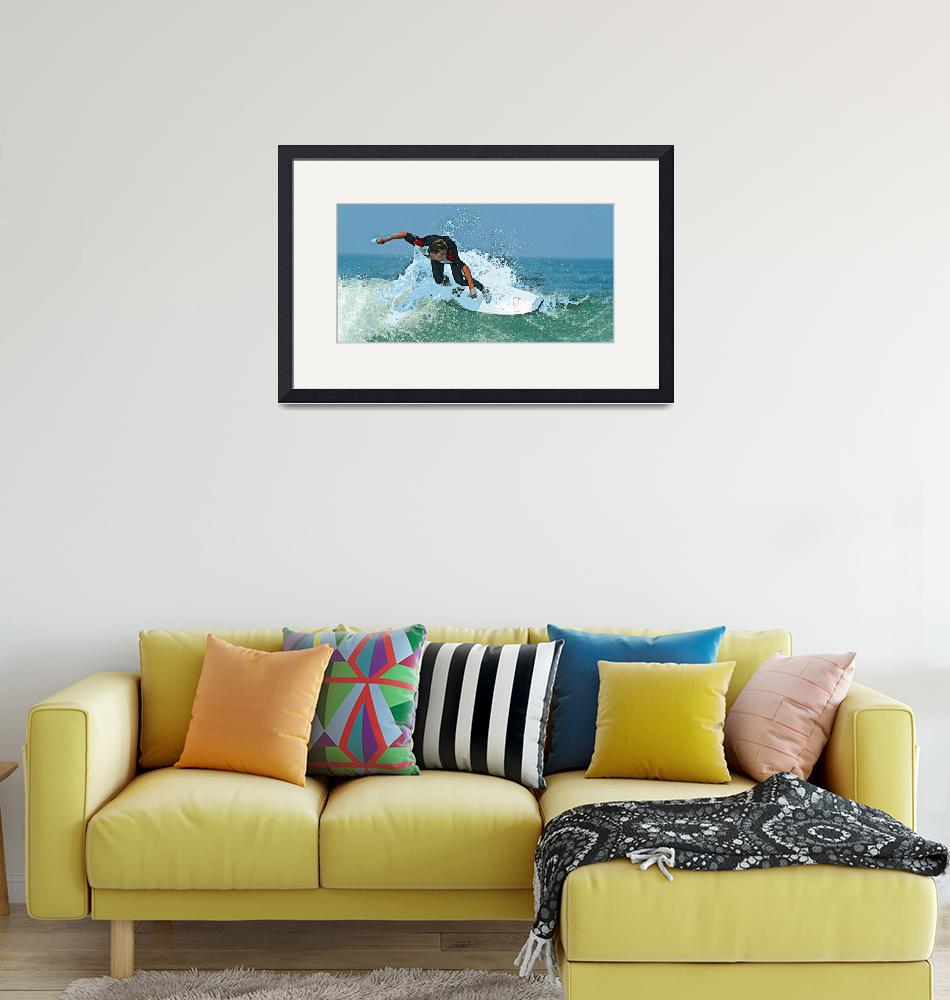 """""""Big Ocean Spray as Surfer Catches a Wave""""  (2019) by ElainePlesser"""