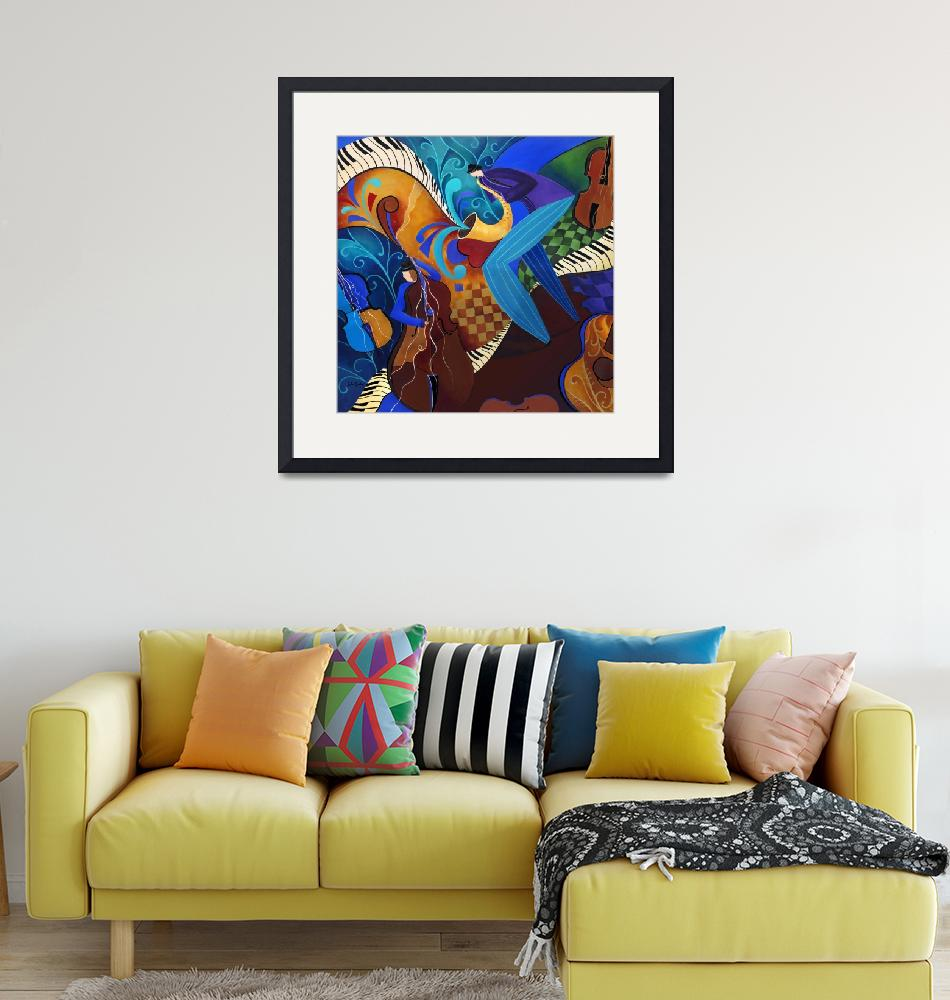 """Colorful Sax Player Jazz Blues Music Players""  (2010) by JuleezArt"