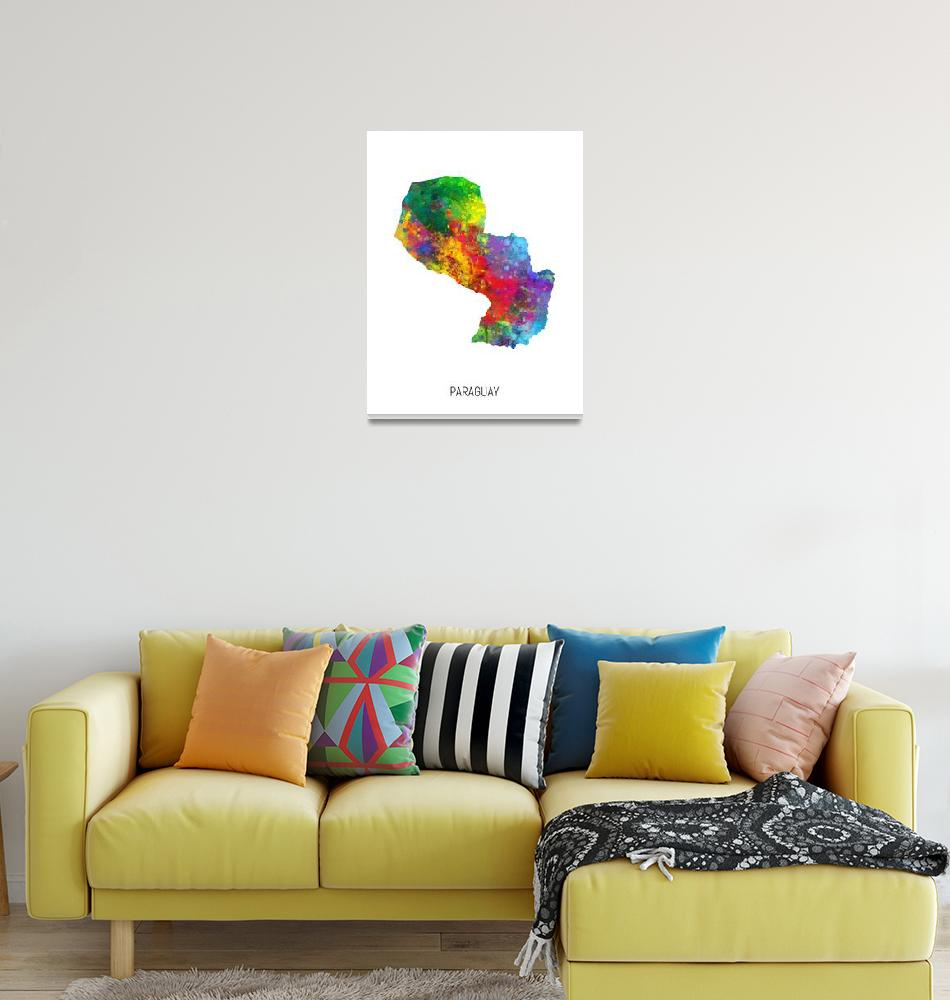 """Paraguay Watercolor Map""  (2019) by ModernArtPrints"