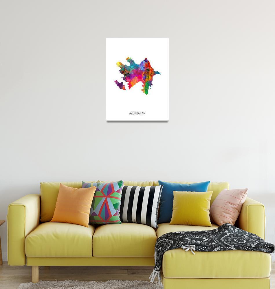 """""""Azerbaijan Watercolor Map""""  (2019) by ModernArtPrints"""