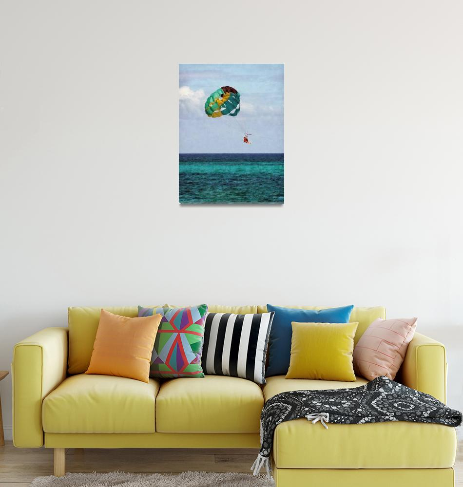 """""""Two Women Parasailing in the Bahamas""""  (2010) by susansartgallery"""