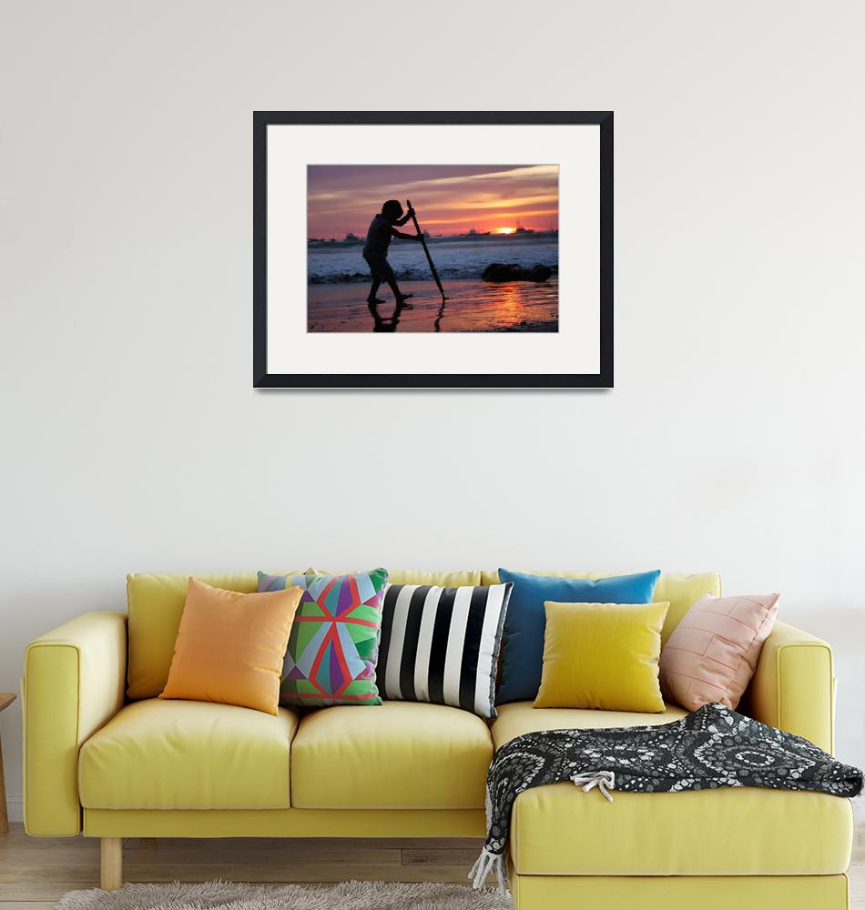 """""""Boy playing at sunset in San Juan del Sur, Nica"""" (2011) by charker"""
