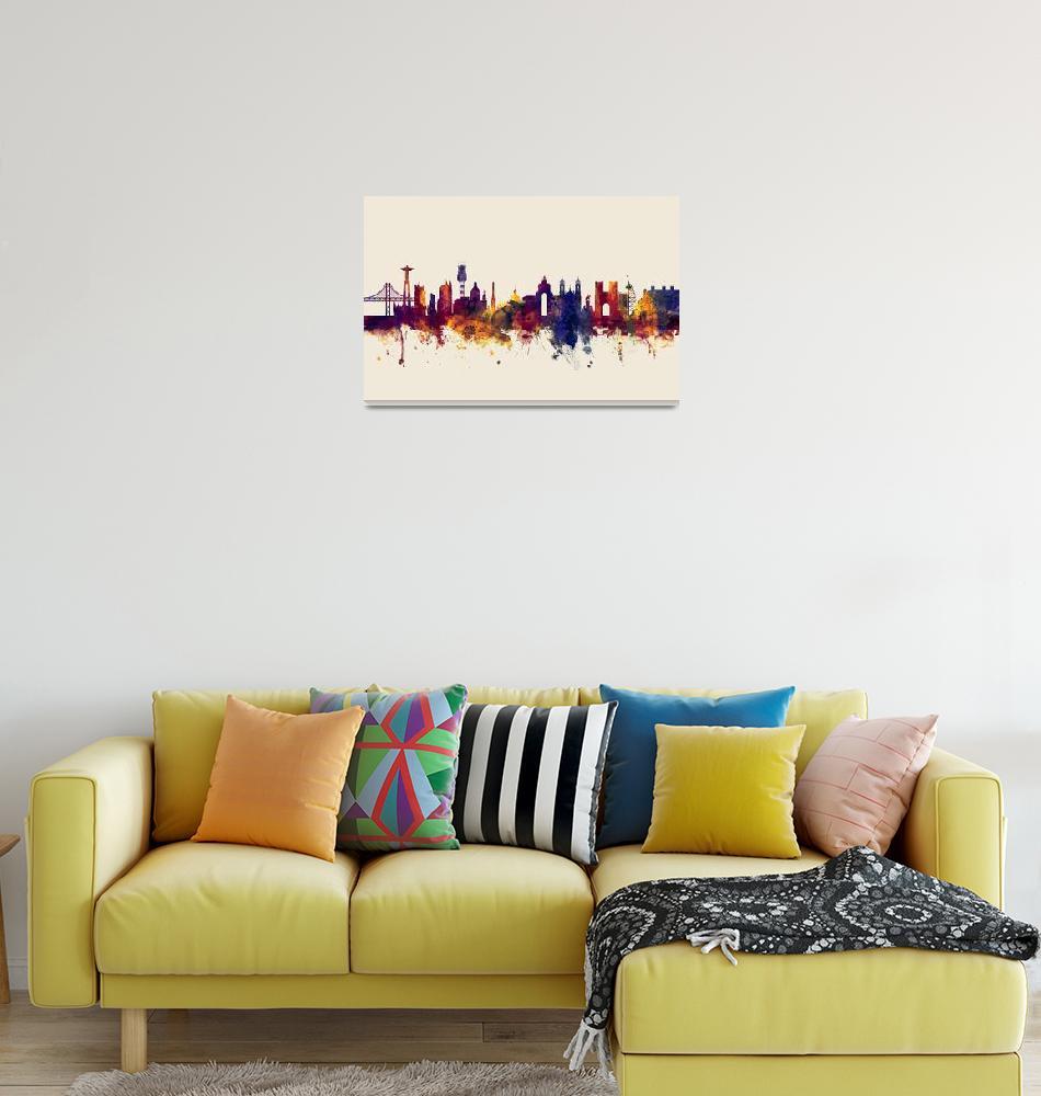 """Lisbon Portugal Skyline""  (2017) by ModernArtPrints"