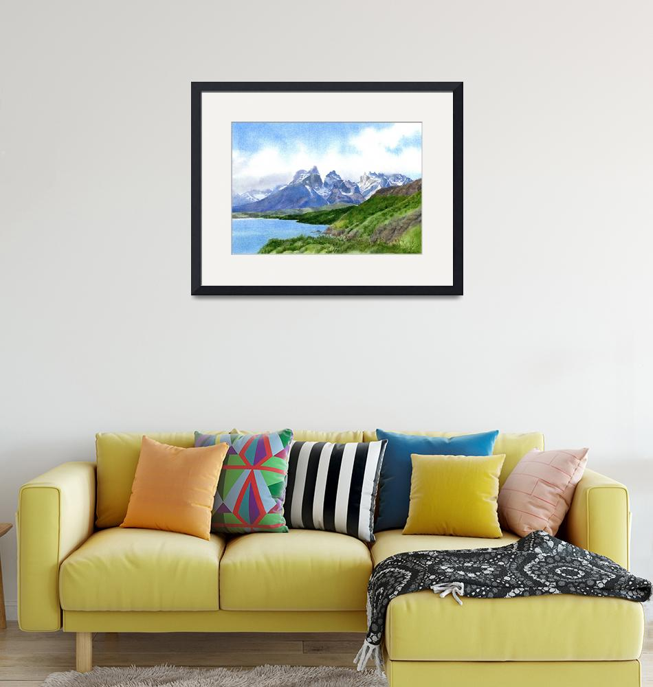 """""""Mountain Peaks at torres Del Paine""""  (2015) by Pacific-NW-Watercolors"""