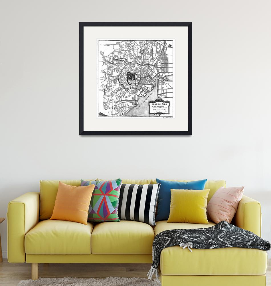 """""""Vintage Map of Tokyo Japan (1752) BW""""  by Alleycatshirts"""