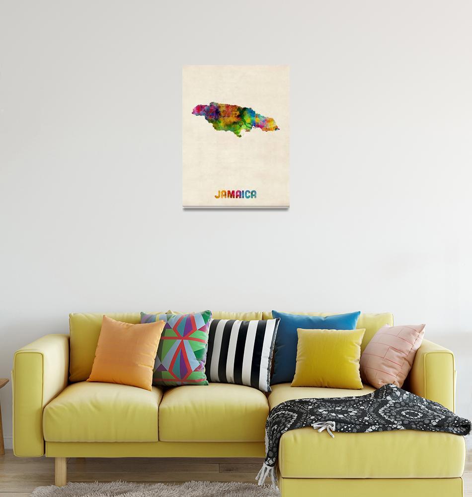"""""""Jamaica Watercolor Map""""  (2014) by ModernArtPrints"""