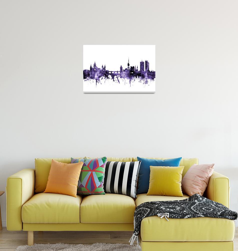 """""""Prague (Praha) Czech Republic Skyline""""  (2018) by ModernArtPrints"""