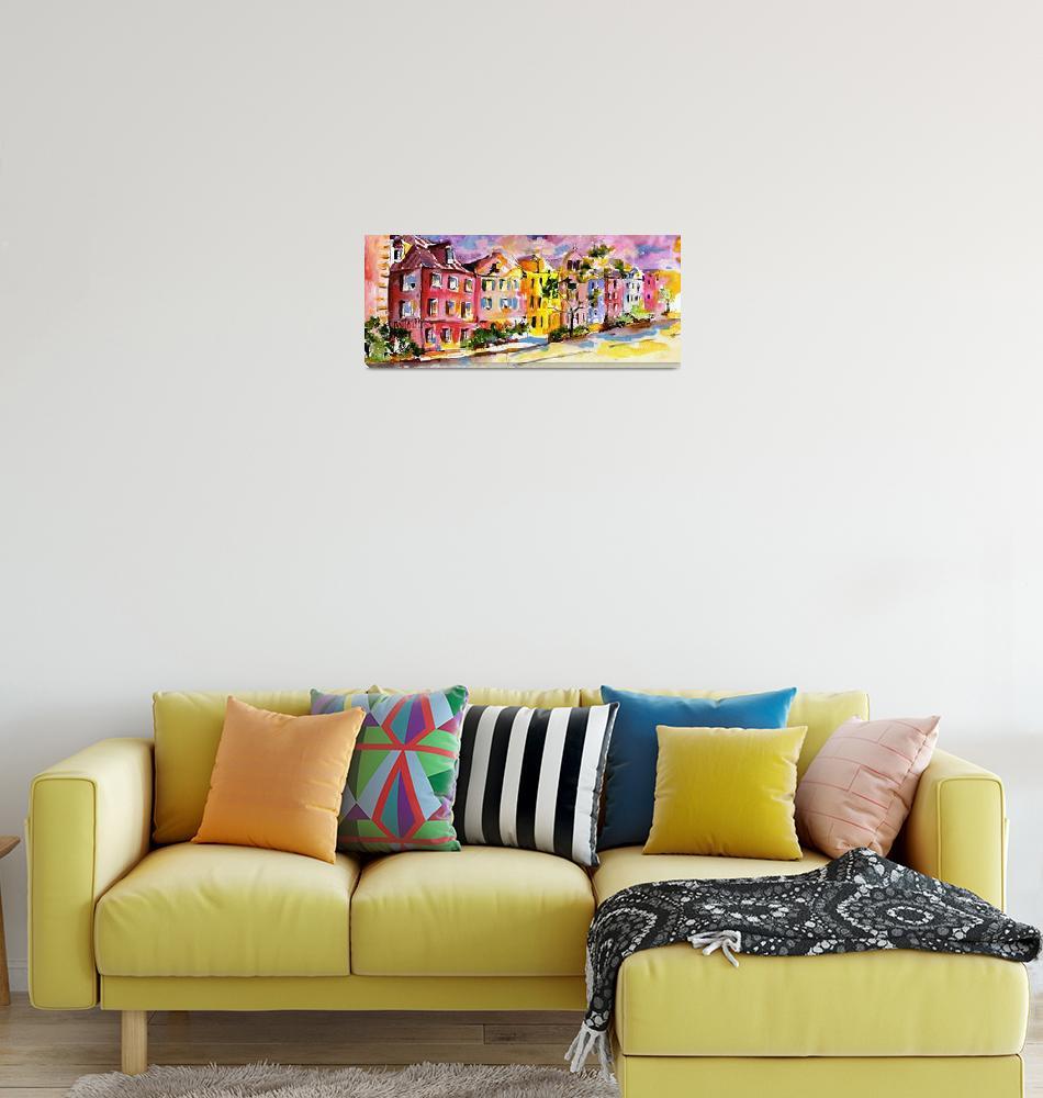 """Rainbow Row Charleston South Carolina Watercolor""  (2008) by GinetteCallaway"
