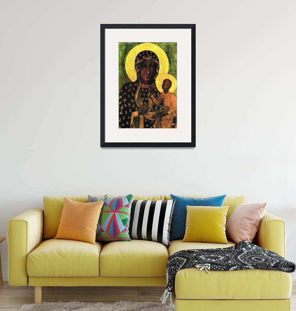 """""""Virgin Mary and Child Icon Black Madonna Poland""""  (1910) by Maggy"""