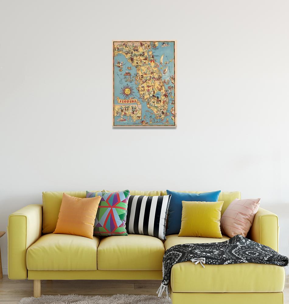 """""""vintage florida map""""  by FineArtClassics"""