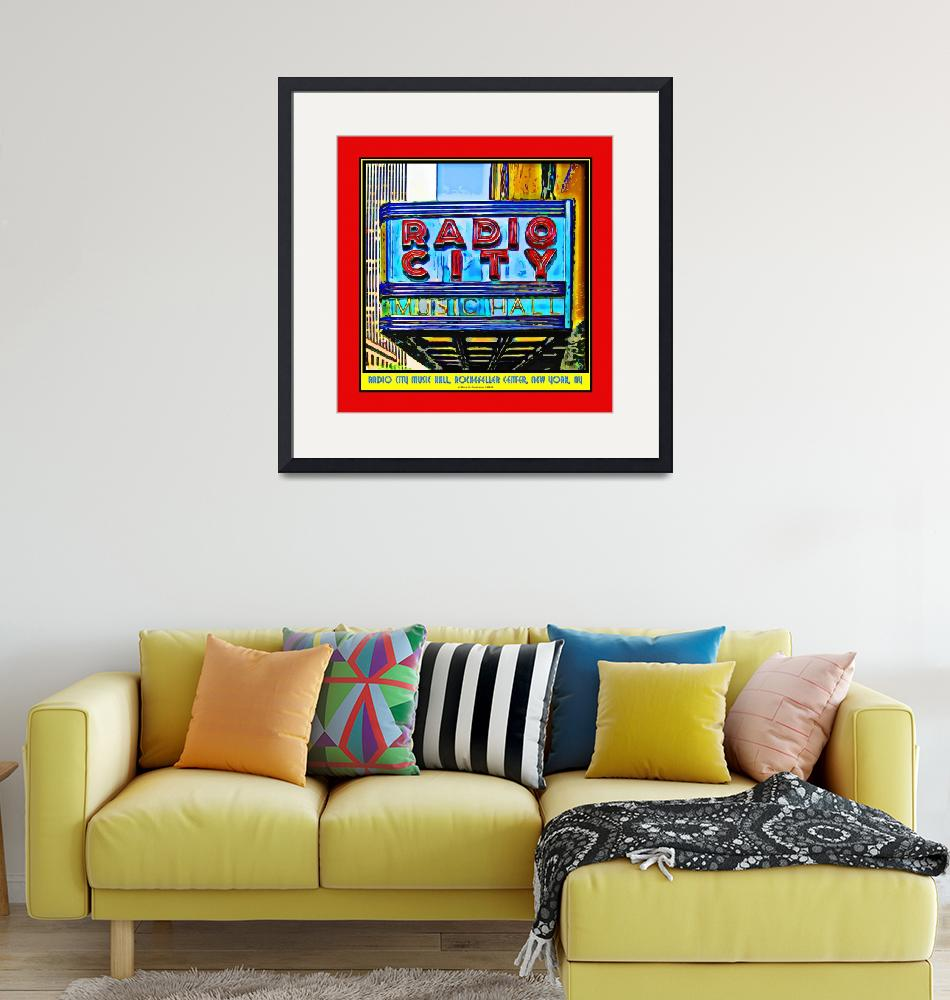 """""""Radio City Music Hall Sign - Red Border""""  (2009) by Automotography"""