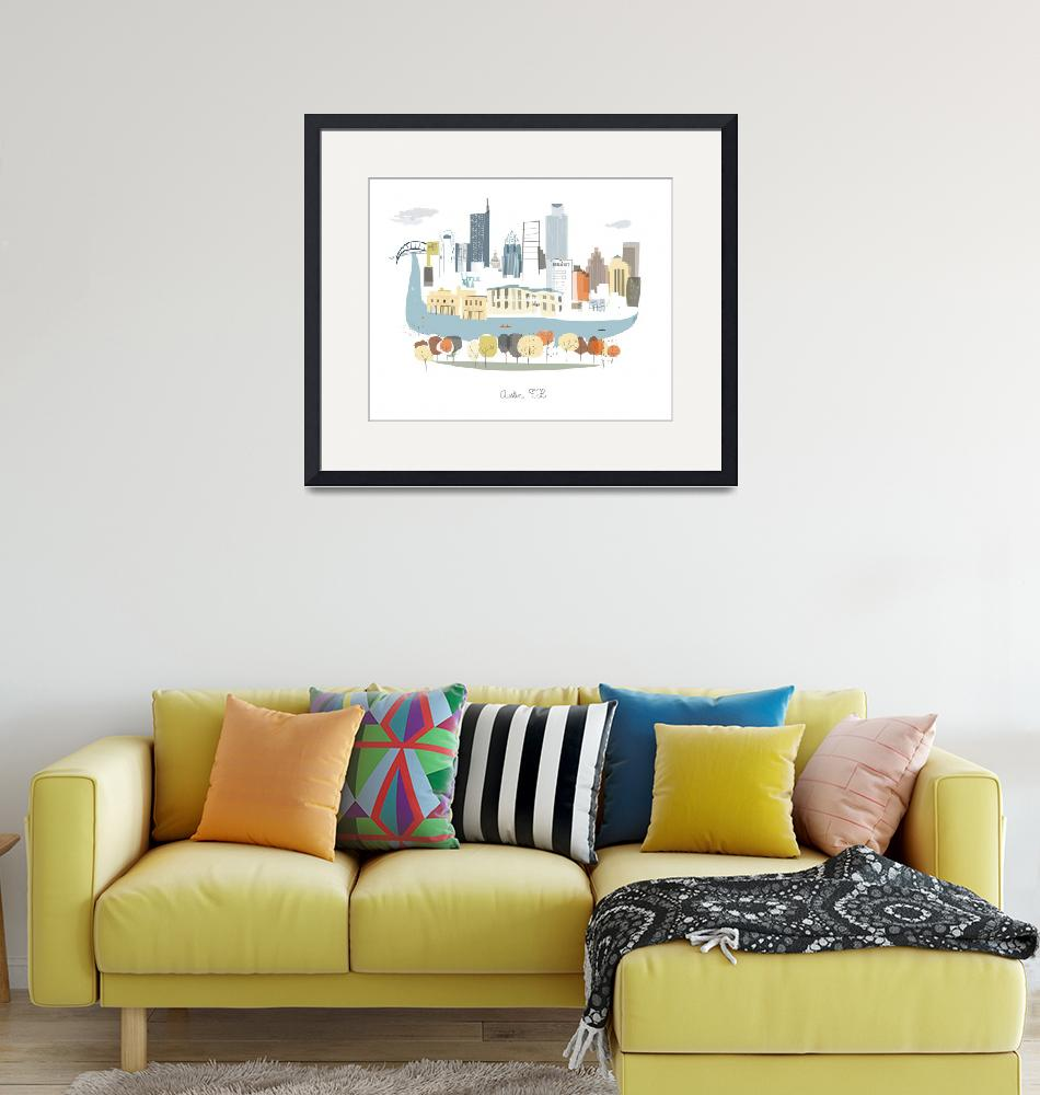 """""""Austin Modern Cityscape Illustration""""  by AlbieDesigns"""