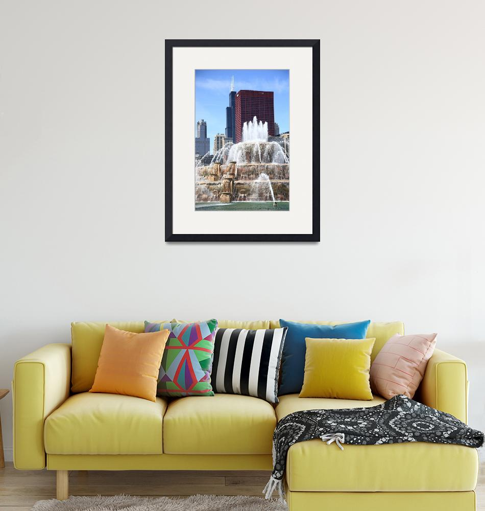 """Chicago Skyline and Buckingham Fountain 2010 #2"" (2010) by Ffooter"