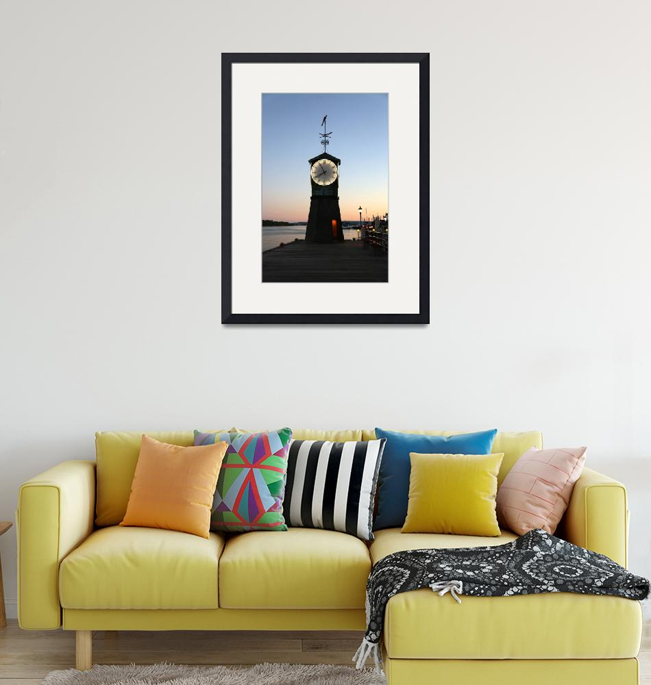 """""""Aker Brygge Clock Tower at Sunset""""  (2014) by Groecar"""