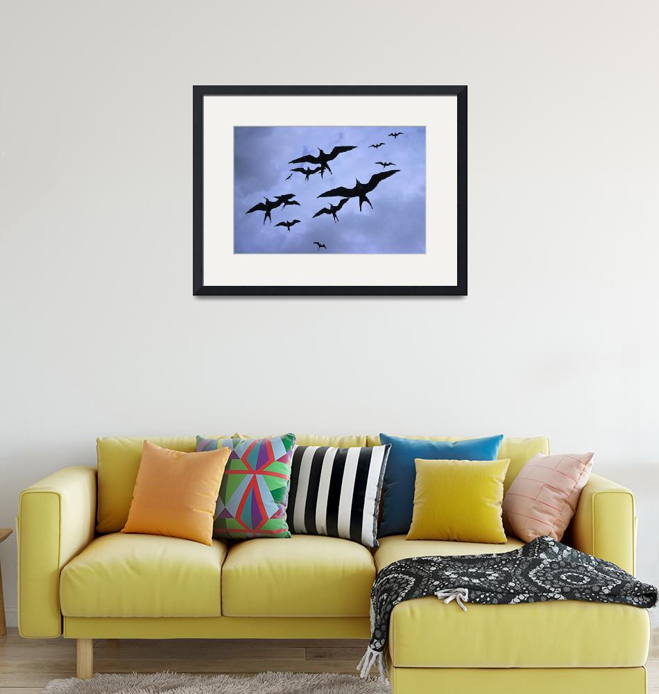 """Frigate Birds In Flight. Lighthouse Reef, World He""  by DesignPics"