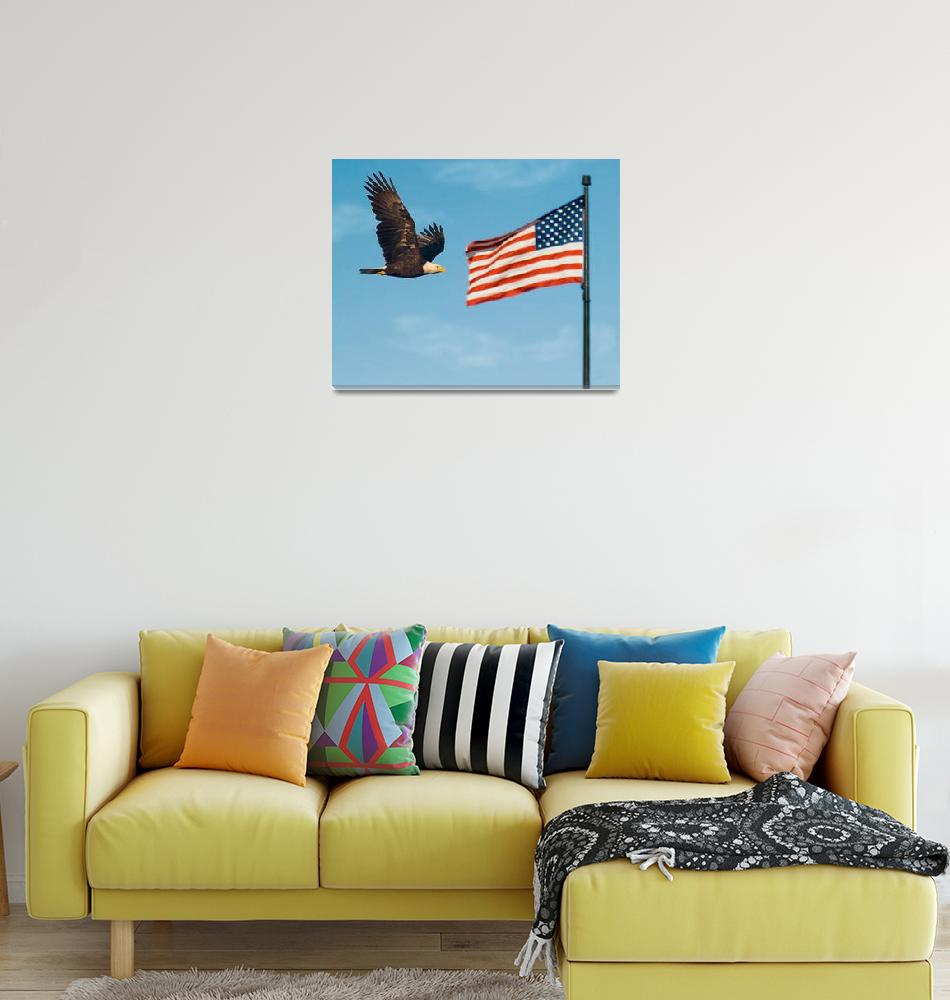 """""""Bald Eagle and American Flag""""  by PLudwig"""