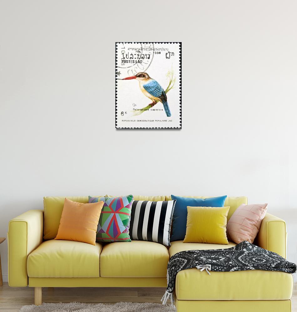 """Stork-billed kingfisher bird stamp.""  by FernandoBarozza"