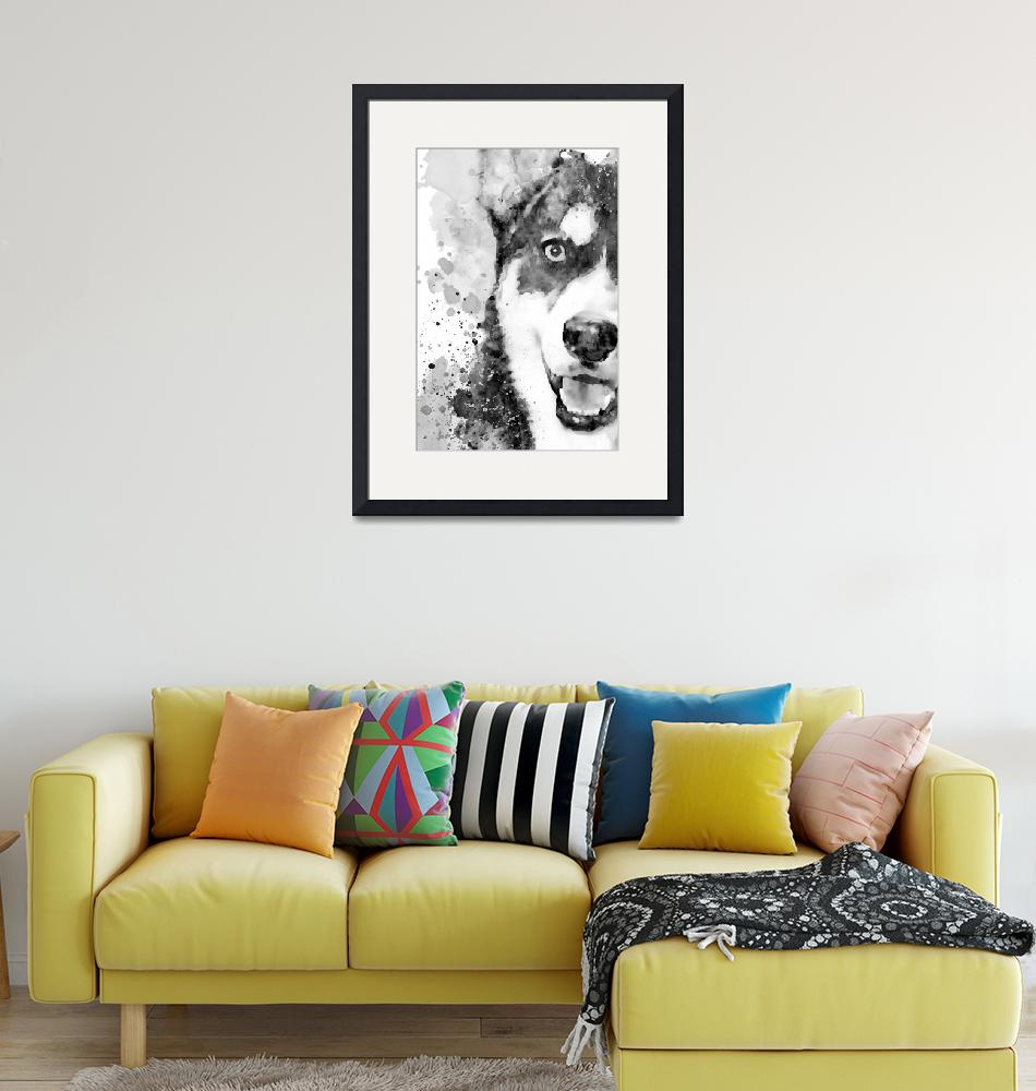 """""""Black And White Half Faced Husky Dog""""  (2019) by MarianVoicu"""