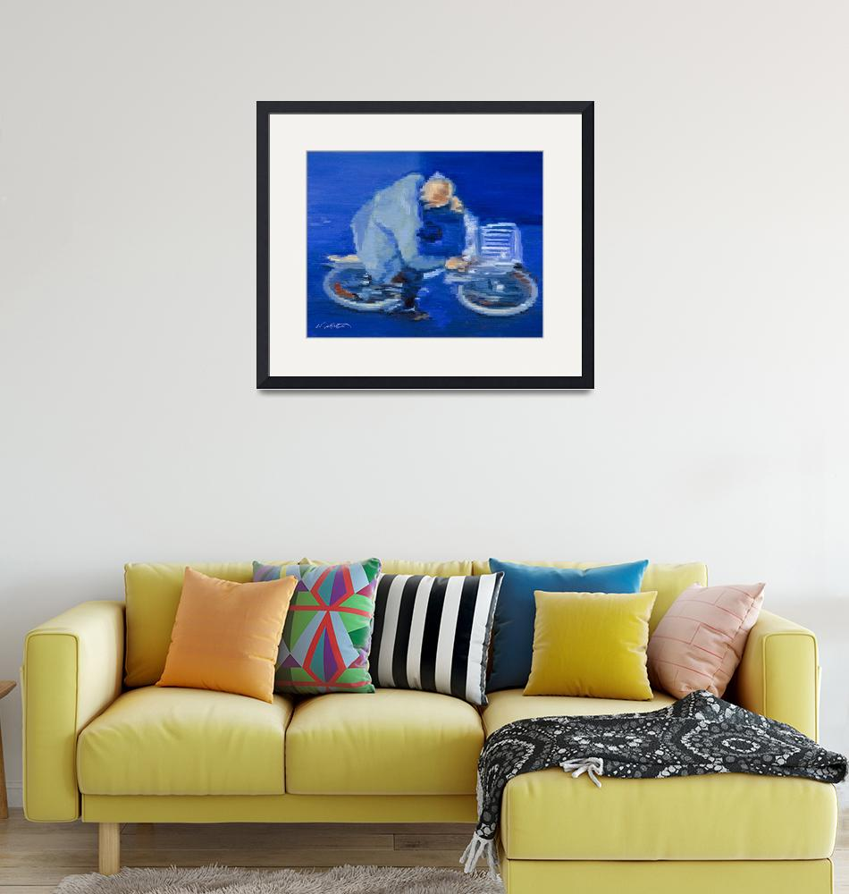 """Old Man Cycling In Paris Fine Art Giclee Print""  (2009) by KeatingArt"