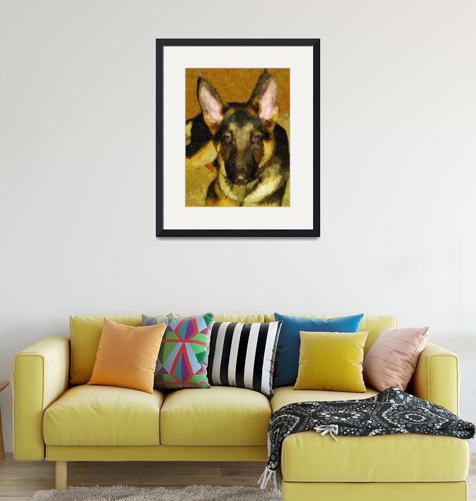 """Custom German Shepherd Canvas""  by Lemonjello"